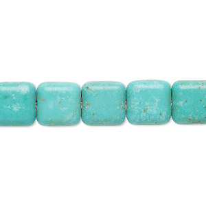 bead, magnesite (dyed / stabilized), light teal green, 10x10mm flat square, c grade, mohs hardness 3-1/2 to 4. sold per 15-inch strand.