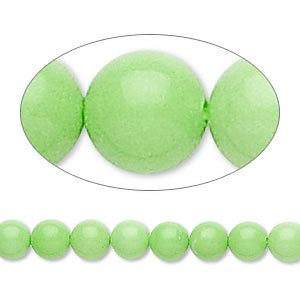 bead, magnesite (dyed / stabilized), lime green, 5-6mm round, b grade, mohs hardness 3-1/2 to 4. sold per 16-inch strand.