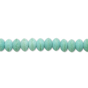 bead, magnesite (dyed / stabilized), matte green, 6x3mm-7x4mm saucer, c grade, mohs hardness 3-1/2 to 4. sold per 15-inch strand.