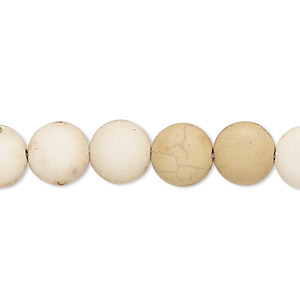 bead, magnesite (dyed / stabilized), matte tan, 10-11mm puffed flat round, c- grade, mohs hardness 3-1/2 to 4. sold per 15-inch strand.