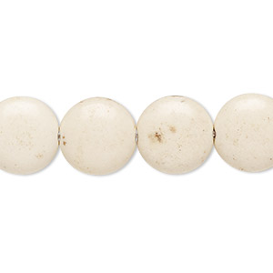 bead, magnesite (dyed / stabilized), tan, 14mm puffed flat round, c- grade, mohs hardness 3-1/2 to 4. sold per 15-inch strand.