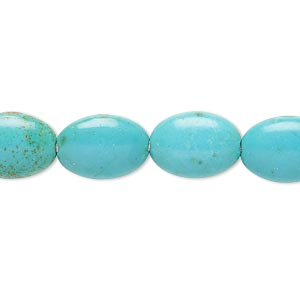 bead, magnesite (dyed / stabilized), teal, 13x10mm-14x10mm puffed oval, b- grade, mohs hardness 3-1/2 to 4. sold per 15-inch strand.