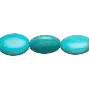 bead, magnesite (dyed / stabilized), teal, 15x12mm-16x12mm puffed oval, c- grade, mohs hardness 3-1/2 to 4. sold per 15-inch strand.