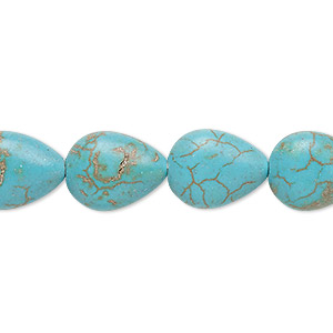 bead, magnesite (dyed / stabilized), teal, 15x12mm puffed teardrop, c grade, mohs hardness 3-1/2 to 4. sold per 15-inch strand.