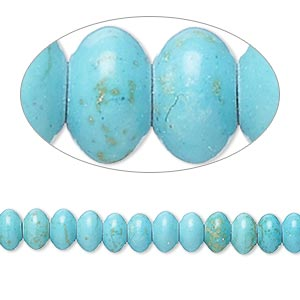 bead, magnesite (dyed / stabilized), teal, 6x4mm-7x5mm saucer, c grade, mohs hardness 3-1/2 to 4. sold per 15-inch strand.