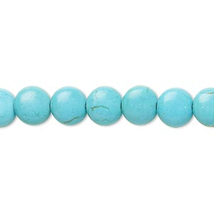 bead, magnesite (dyed / stabilized), teal, 7-8mm lentil, b- grade, mohs hardness 3-1/2 to 4. sold per 15-inch strand.