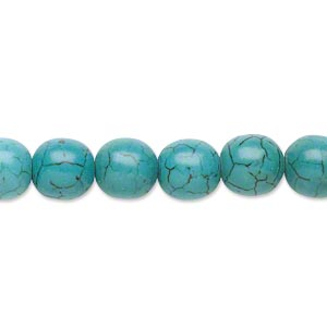 bead, magnesite (dyed / stabilized), teal, 7-8mm round, c grade, mohs hardness 3-1/2 to 4. sold per 15-inch strand.