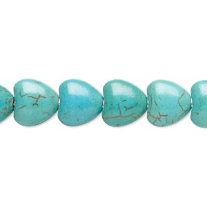 bead, magnesite (dyed / stabilized), teal green, 10x10mm puffed heart, b- grade, mohs hardness 3-1/2 to 4. sold per 15-inch strand.