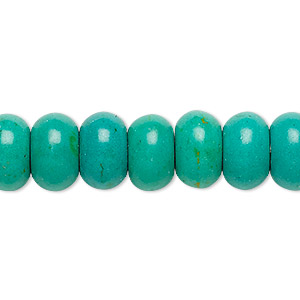 bead, magnesite (dyed / stabilized), teal green, 12x7mm rondelle, c grade, mohs hardness 3-1/2 to 4. sold per 15-inch strand.