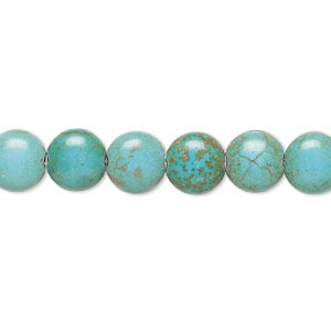 bead, magnesite (dyed / stabilized), teal green, 7-8mm puffed flat round, c- grade, mohs hardness 3-1/2 to 4. sold per 15-inch strand.
