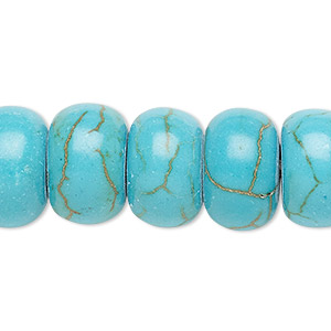 bead, magnesite (dyed / stabilized), turquoise blue, 8x5mm rondelle with 2-2.5mm hole, b grade, mohs hardness 3-1/2 to 4. sold per pkg of 10.