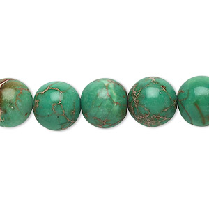 bead, magnesite (dyed / stabilized), turquoise green, 10mm round, b grade, mohs hardness 3-1/2 to 4. sold per 16-inch strand.