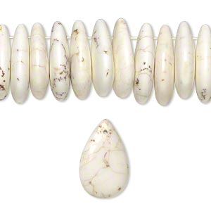 bead, magnesite (stabilized), white, 25x15x5mm teardrop, b grade, mohs hardness 3-1/2 to 4. sold per 16-inch strand.