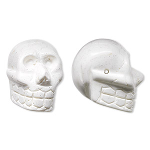 bead, magnesite (stabilized), white, 25x21mm hand-cut skull, c grade, mohs hardness 3-1/2 to 4. sold per pkg of 2.