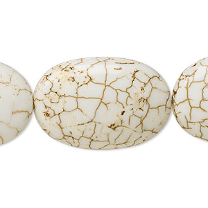 bead, magnesite (stabilized), white, 30x20mm flat oval, b grade, mohs hardness 3-1/2 to 4. sold per 16-inch strand.