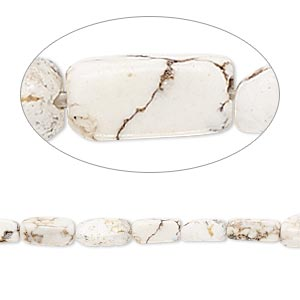 bead, magnesite (stabilized), white, 7x3mm-8x4mm rounded square tube, c- grade, mohs hardness 3-1/2 to 4. sold per 15-inch strand.