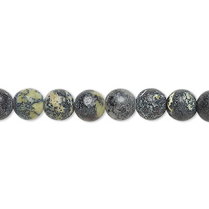 bead, magnetite and yellow turquoise (natural), 6mm round, d grade, mohs hardness 2-1/2 to 6-1/2. sold per 15-inch strand.