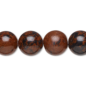 bead, mahogany obsidian (natural), 12mm round, b grade, mohs hardness 5 to 5-1/2. sold per 16-inch strand.