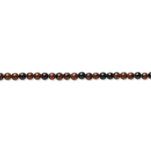 bead, mahogany obsidian (natural), 2mm round, b grade, mohs hardness 5 to 5-1/2. sold per 16-inch strand.