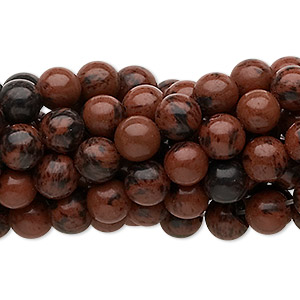 bead, mahogany obsidian (natural), 6mm round, c grade, mohs hardness 5 to 5-1/2. sold per pkg of (10) 16-inch strands.