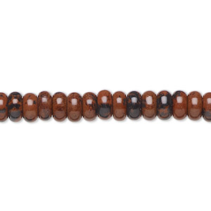 bead, mahogany obsidian (natural), 6x3mm rondelle, b grade, mohs hardness 5 to 5-1/2. sold per 16-inch strand.