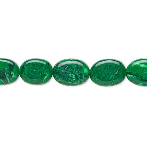 bead, malachite (imitation), 9x7mm-12x8mm oval. sold per 16-inch strand.