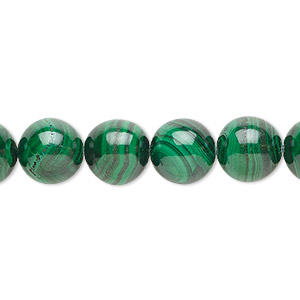 bead, malachite (natural), 10mm round with 0.5-1.5mm hole, b grade, mohs hardness 3-1/2 to 4. sold per 8-inch strand, approximately 20 beads.