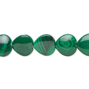 bead, malachite (natural), 12mm heart, b grade, mohs hardness 3-1/2 to 4. sold per 16-inch strand.