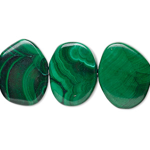 bead, malachite (natural), 19x14mm-22x17mm non-uniform flat oval, b- grade, mohs hardness 3-1/2 to 4. sold per 8-inch strand.