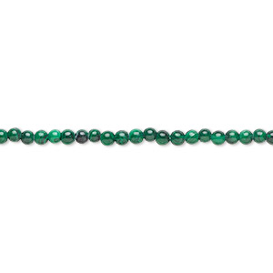 bead, malachite (natural), 3mm round with 0.5-1.5mm hole, b grade, mohs hardness 3-1/2 to 4. sold per 8-inch strand, approximately 70 beads.