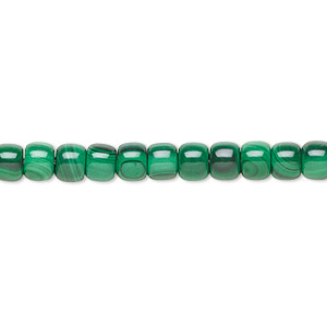 bead, malachite (natural), 5x4mm drum with 0.5-1.5m hole, b grade, mohs hardness 3-1/2 to 4. sold per 8-inch strand, approximately 35 beads.