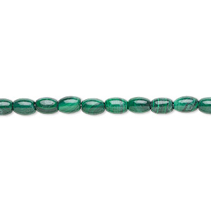 bead, malachite (natural), 6x4mm oval, b grade, mohs hardness 3-1/2 to 4. sold per 16-inch strand.