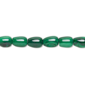 bead, malachite (natural), 7x5mm barrel, b grade, mohs hardness 3-1/2 to 4. sold per 16-inch strand.
