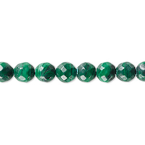 bead, malachite (natural), 8mm faceted round with 0.5-1.5mm hole, b grade, mohs hardness 3-1/2 to 4. sold per 8-inch strand, approximately 25 beads.