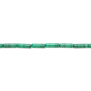 bead, malachite (natural), 8x2.5mm round tube, b grade, mohs hardness 3-1/2 to 4. sold per 16-inch strand.