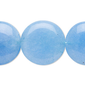 bead, malaysia jade (dyed), blue, 25mm puffed flat round, b grade, mohs hardness 7. sold per 15-inch strand.