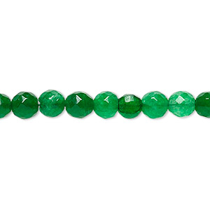 bead, malaysia jade (dyed), green, 5-6mm faceted round, c- grade, mohs hardness 7. sold per 14-inch strand.