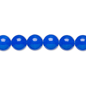 bead, malaysia jade (dyed), translucent cobalt, 8mm round, b grade, mohs hardness 7. sold per 16-inch strand.