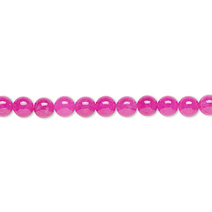 bead, malaysia jade (dyed), translucent fuchsia, 4mm round, b grade, mohs hardness 7. sold per 16-inch strand.
