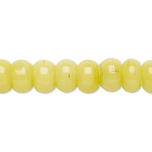 bead, malaysia jade (dyed), yellow-green, 10x6mm-11x7mm rondelle, b grade, mohs hardness 7. sold per 15-inch strand.