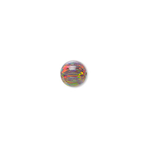 bead, mexican opal (man-made), multicolored, 8mm half-drilled round. sold individually.