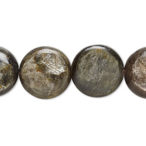 bead, mica (coated), 16mm hand-cut puffed flat round, b grade, mohs hardness 2. sold per 16-inch strand.