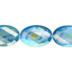 bead, millefiori glass, marbled aqua blue ab, 20x13mm faceted wavy oval. sold per 8-inch strand, approximately 10 beads.