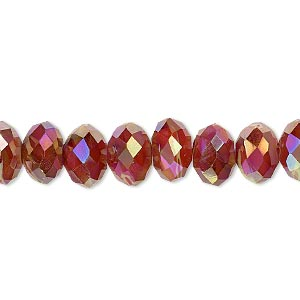 bead, millefiori glass, marbled yellow and red ab, 9x6mm faceted rondelle. sold per 8-inch strand, approximately 25 beads.