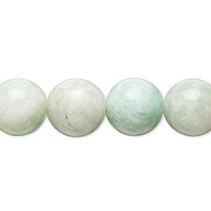 bead, mint green amazonite (natural), 12mm round, b grade, mohs hardness 6 to 6-1/2. sold per 16-inch strand.