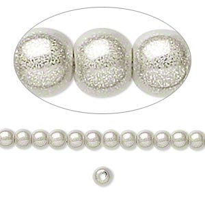 bead, miracle, acrylic, silver, 4mm round. sold per pkg of 10.