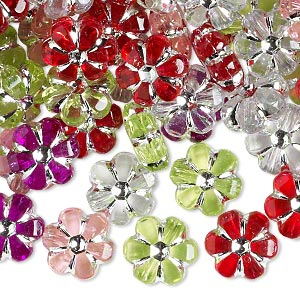 bead mix, acrylic, mixed colors, 10x10mm flower. sold per 75-gram pkg, approximately 200 beads.