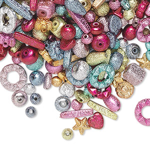 bead mix, acrylic, mixed colors, 6mm-17x4mm mixed stardust shape. sold per 100-gram pkg, approximately 300-400 beads.