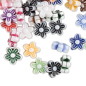 bead mix, acrylic, mixed colors, 9x9mm flower. sold per pkg of 100.