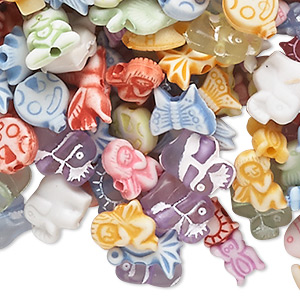 bead mix, acrylic, opaque and translucent mixed colors, 6x5mm-14x12mm mixed animal shape. sold per 1/4 pound pkg, approximately 740-860 beads.